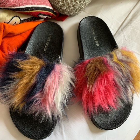 Steve Madden Shoes - Steve Madden Faux  Fur Slides